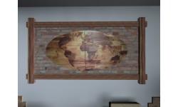 Intarzi - Starožitný Smrekový Oválny Obraz Mapa Sveta (2 časti)