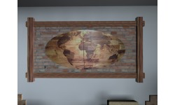 Intarzi Antique Pine Oval Wall Picture World Map (two-parted)