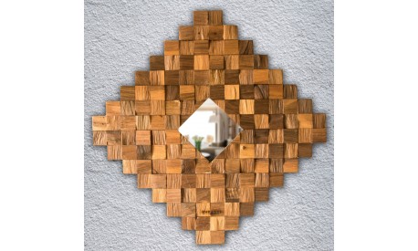 Wall decoration panel slitted walnut wood zigzag pattern-Unique,handmade product