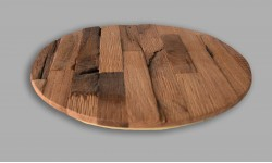 Rustic wooden antiqe oak wood placemat placemats circle- Set of 4 Unique product