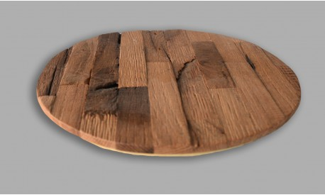 Rustic wooden antiqe oak wood placemat placemats circle- Set of 4 Unique product