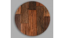 Rustic antique pine wood placemat placemats circle- Set of - 4 Unique product