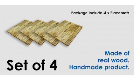 Rustic antique pine wood placemat placemats rectangle -Set of 4- Unique product
