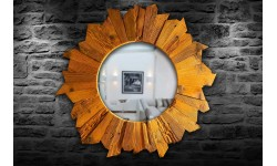Sun shaped antique oak wood mirror, unique handmade product