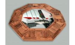 Antique pine octagon mirror, unique handmade product