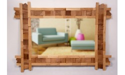 Rectangular mirror with with splitted oak and walnut wood squares and rectangles, unique handmade product