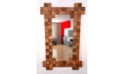 Rectangular mirror with with splitted walnut wood squares, unique handmade product