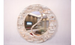 Circle mirror with jin-jang shape, made of antique pine, 3D surface, unique handmade product