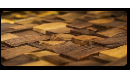 Splitted, striped,steamed walnut wall panel