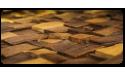 Splitted, striped, steamed walnut 3D wall panel