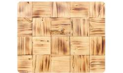 Splitted antique pine wood square shaped wall panel