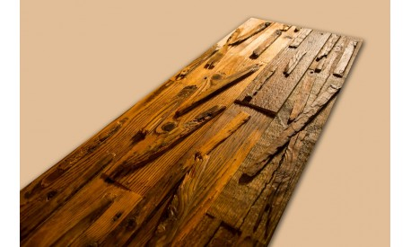 3D Antique pine wood wall panel with irregular pattern