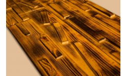 Antiqued (burned) pine wood 3D wall panel