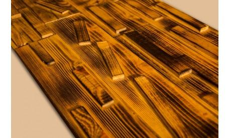 Antiqued (burned) pine wood 3D wall panel