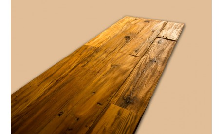 Antique pine wood hand-planed 2D wall panel
