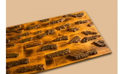 Burned oak 3D wall panel with crusty wood surface