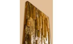 Antik fenyő 3D falpanel szabályos fadarabokkal
