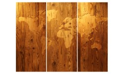 Intarzi Antique Pine Wall Picture World Map (three-parted)